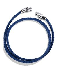 David Yurman - Metallic Chevron Triple-wrap Bracelet In Blue - Lyst