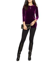 Lauren by Ralph Lauren | Purple Keyhole Jersey Top | Lyst