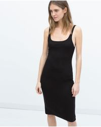 Zara | Black Basic Sleeveless Dress | Lyst
