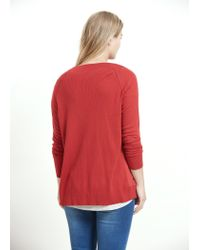 Violeta by Mango - Red Contrast Panel Cardigan - Lyst