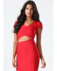 Bebe | Red Cold Shoulder Bandage Top | Lyst
