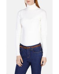 Karen Millen - Natural Cable Knitted Merino Polo Neck Jumper - Lyst