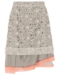 Michael van der Ham - Gray Macramé Lace And Silk-Organza Skirt - Lyst