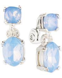 Anne Klein | Blue Glass Stone And Crystal Clip-on Earrings | Lyst
