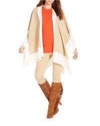 Lauren by Ralph Lauren | Natural Two-toned Poncho | Lyst