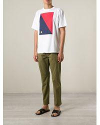 MSGM | White Rectangle Print T-Shirt for Men | Lyst