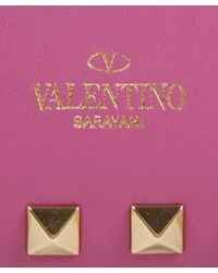 Valentino - Pink Rockstud Leather Clutch Bag - Lyst
