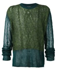 Ann Demeulemeester - Green Colour Block Open Knit Sweater - Lyst