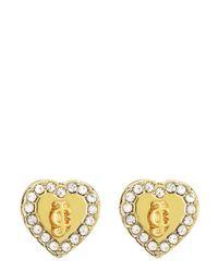 Juicy Couture | Metallic Jc Pave Heart Stud Earrings | Lyst