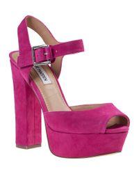 Steve Madden - Purple Jillyy Platform Sandal Fuchsia Suede - Lyst