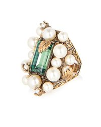 Gucci - Green Crystal And Pearl Flowering Ring - Lyst
