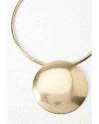 Forever 21 - Metallic Oversized Disc Pendant Necklace - Lyst