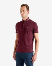 Ted Baker - Purple Woven Collar Polo Shirt for Men - Lyst