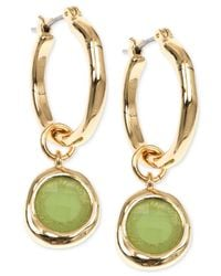 Jones New York | Gold-Tone Green Stone Drop Off Hoop Earrings | Lyst