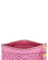 Moschino - Pink Logo Grained Leather Pouch - Lyst
