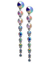 Guess | Metallic Silver-tone Graduated Stone Drop Earrings | Lyst