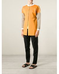 J.W.Anderson - Yellow Contrast Sleeve Cardigan for Men - Lyst