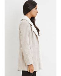 Forever 21 | Natural Faux Shearling-trim Genuine Suede Coat | Lyst