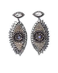 Deepa Gurnani | Metallic Zendaya Earrings, Gunmetal | Lyst