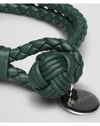 Bottega Veneta - Emerald Green Intrecciato Nappa Bracelet for Men - Lyst
