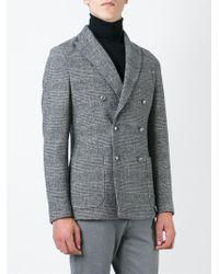 Eleventy Gray Prince Of Wales Check Blazer for men