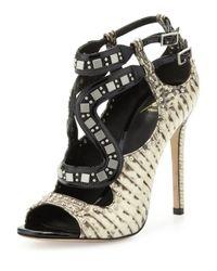 B Brian Atwood | Black Lavela Studded Snake Sandal | Lyst