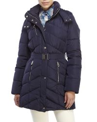 Ivanka Trump | Blue Belted Chevron Quilted Coat | Lyst