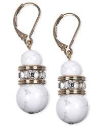 Anne Klein | White Gold-tone Drop Earrings | Lyst