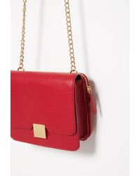 Forever 21 - Red Faux Leather Chain-strapped Crossbody - Lyst