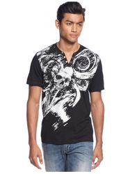 INC International Concepts - White Skull Split-Neck T-Shirt for Men - Lyst