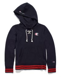 Champion - Blue Europe Premium Reverse Weave® Lace Up Hoodie for Men - Lyst