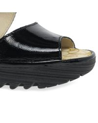 Fly London - Black Patent Leather 'yisk' Mid Heeled Wedge Sandals - Lyst