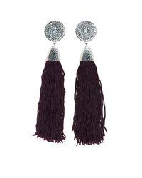 Charlotte Russe - Purple Medallion Tassel Drop Earrings - Lyst