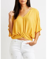 Charlotte Russe - Yellow Printed Kimono Sleeve Top - Lyst