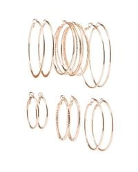 Charlotte Russe - Metallic Textured Hoop Earrings - 6 Pack - Lyst
