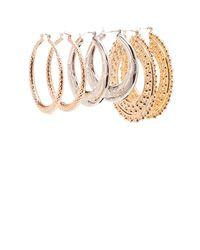 Charlotte Russe - Metallic Textured Hoop Earrings - 3 Pack - Lyst