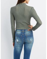 Charlotte Russe - Green Ribbed Crochet-front Crop Top - Lyst