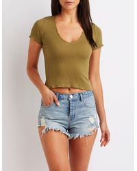 Charlotte Russe - Green Ribbed V-neck Top - Lyst