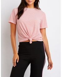 Charlotte Russe - Red Stripe Crew Neck Tee - Lyst