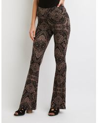 Charlotte Russe - Brown Paisley Print Flare Pants - Lyst