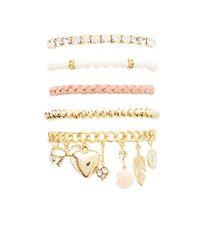Charlotte Russe - Metallic Sweet Charm Layering Bracelets - 5 Pack - Lyst