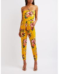 9c37e535b61 Lyst - Charlotte Russe Floral Strapless Jumpsuit in Yellow