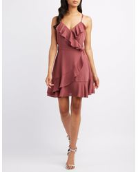 Charlotte Russe - Red Ruffle-trim Surplice Skater Dress - Lyst