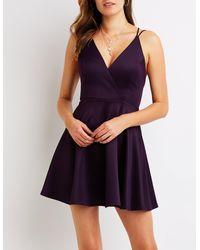 285b39b8e7 Lyst - Charlotte Russe Strappy Open Back Skater Dress in Purple
