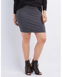 4de9a91f7dc Lyst - Charlotte Russe Plus Size Bodycon Mini Skirt in Gray