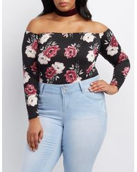 9a282a4878 Lyst - Charlotte Russe Plus Size Floral Off-the-shoulder Bodysuit