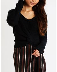 Charlotte Russe - Black V Neck Knotted Sweater - Lyst