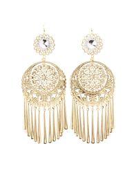 Charlotte Russe - Metallic Filigree Tassel Drop Earrings - Lyst