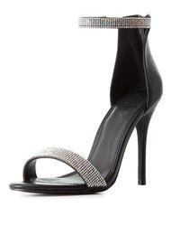 Charlotte Russe - Black Embellished Two-piece Dress Sandals - Lyst