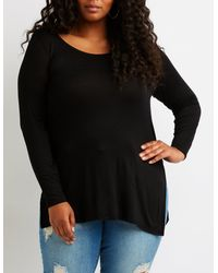 Charlotte Russe - Black Plus Size High-low Tunic Top - Lyst